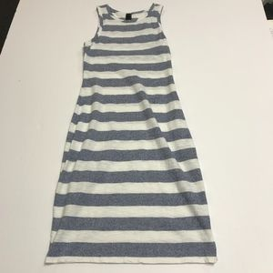 Bobi Slub Stripe Print Scoop Neck Tank Mini Dress